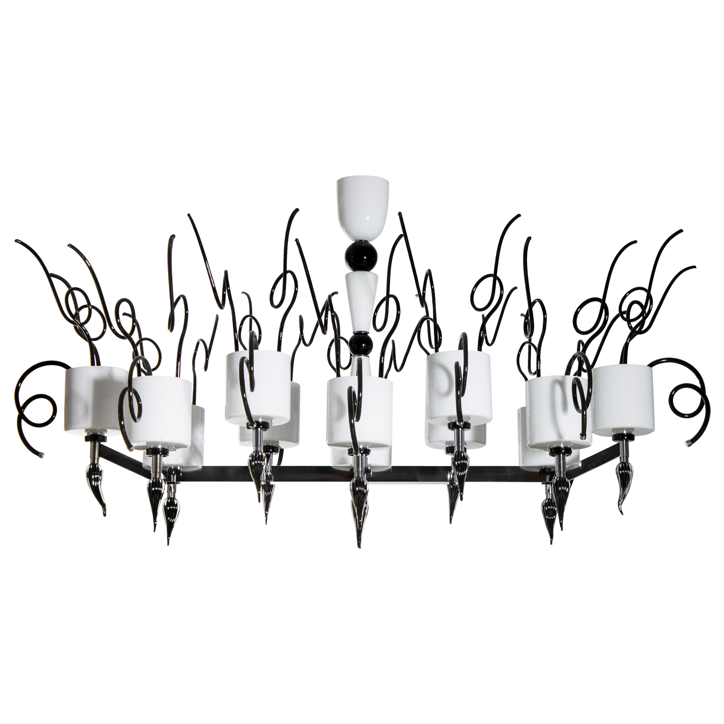 Curly Chandelier black and white in blown Murano Glass contemporary Italy