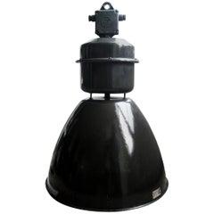Large Black Vintage Industrial Enamel Factory Pendant Lamps (77x)