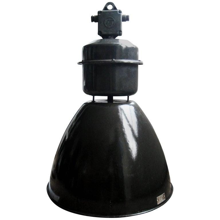 Russian Industrial Pendants: Large Black Vintage Industrial Enamel Factory Pendant