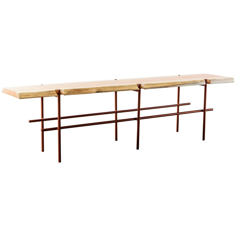 """Construction"" Minimalist Bench in Natural Solid Wood and Painted Steel For Sale"