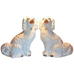 Pair of 19th Century Staffordshire Dogs White with Gold, Black Detail, England