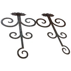 Pair of 19th Century Gothic Revival Iron Scrolled Hinges