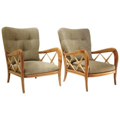 Pair of 1940s Paolo Buffa Cherrywood Armchairs, New Pierre Frey Upholstery
