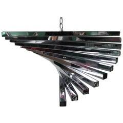 Gaetano Sciloari Italian Mid-Century Modern Spiral Chandelier in Chrome
