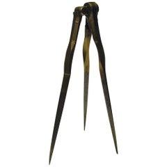 Triangular or Three-Legged Brass Dividers, 19th Century
