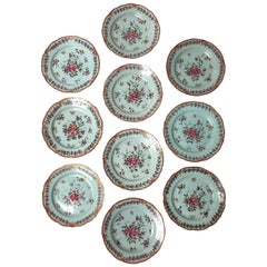 Set of Ten 18th Century Porcelain Plates for the Continental Market, circa 1770
