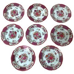 Set of Eight 18th Century Chinese Export Famille Rose Plates
