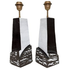 Pair of Ceramic Lamp Bases Glazed in Black and White