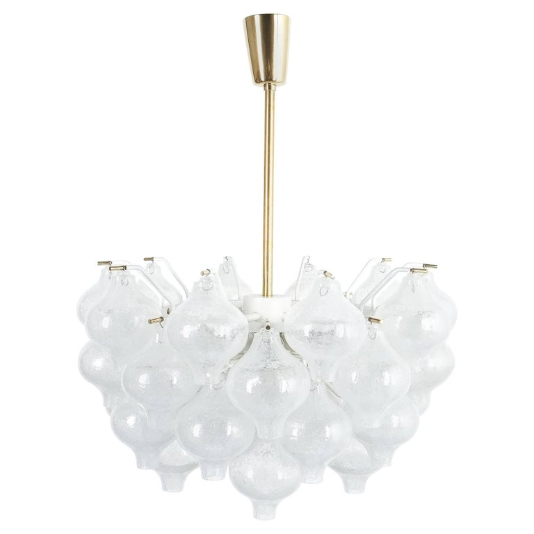 Refurbished J.T. Kalmar Tulipan Foam Glass Chandelier Lamp, Austria, 1960