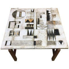 2 Potiers, Coffee Table with Abstract Decoration