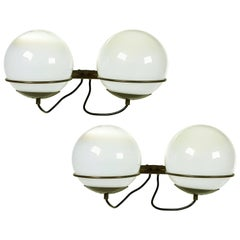 Italian Glass and Brass B519 Spherical Sconces from Candle, 1960s, Set of Two