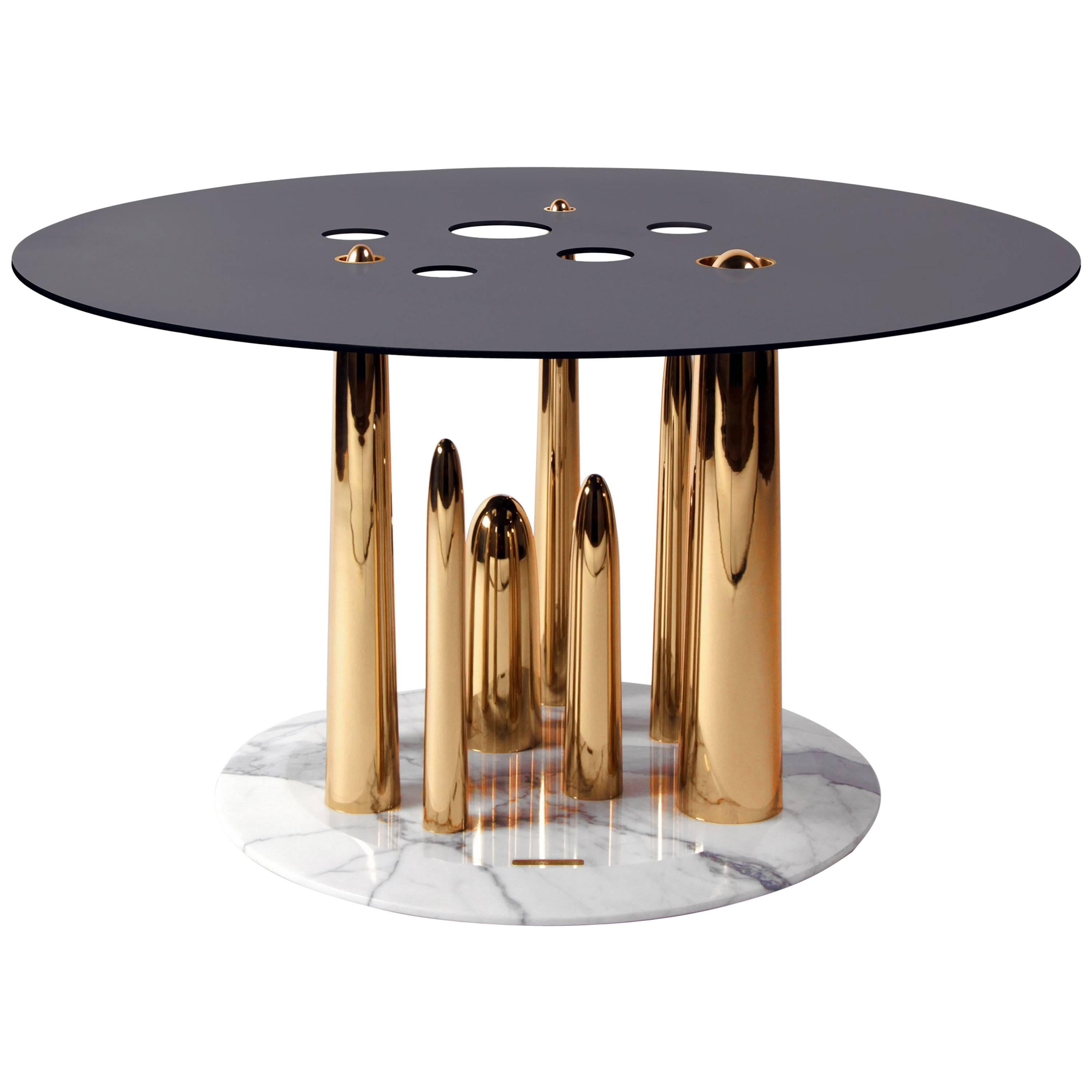 Contemporary Coffee Table or Side Table in Marble, Brass, and Steel