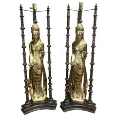 Pair of Large-Scale Gilt Quan Yin Lamps, in the Style of James Mont