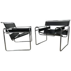 Pair of Classic Bauhaus Marcel Breuer, Wassily Chairs for Knoll