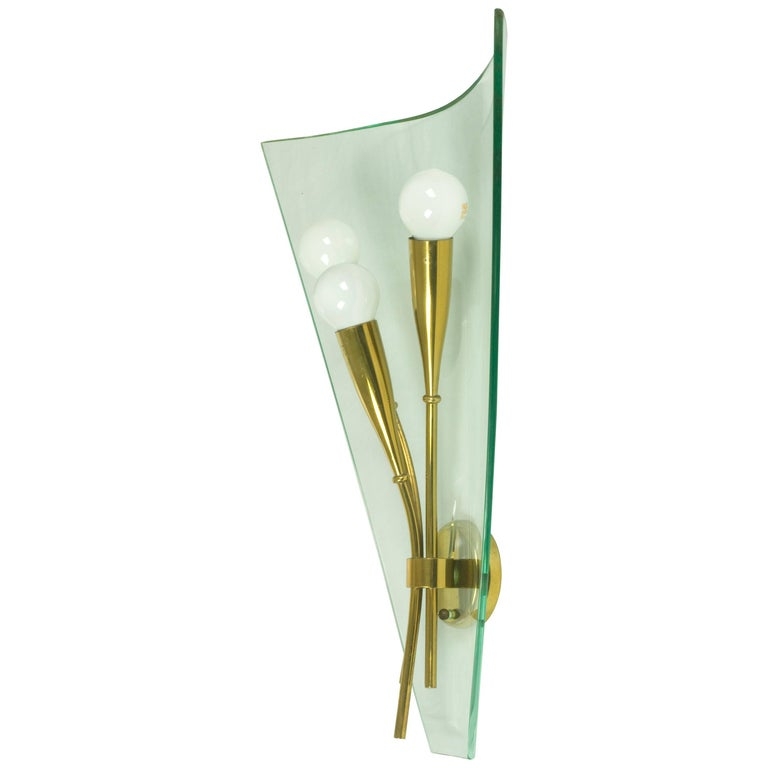 Italian Light Blue Curved Glass and Brass Wall Sconce from Cristal Art, 1960s