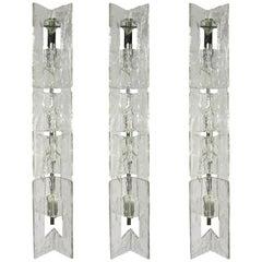 Large Murano Glass Wall Lamps by Carlo Nason for Av Mazzega, 1970s, Set of Three