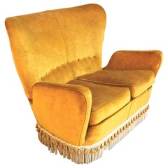 Sala Madini for Galimberti Cantu Small Sofa, 1950s Fully Restored, Gold Velvet
