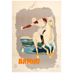Original Vintage Enit Art Deco Poster for Briony Brijuni Featuring Polo and Golf