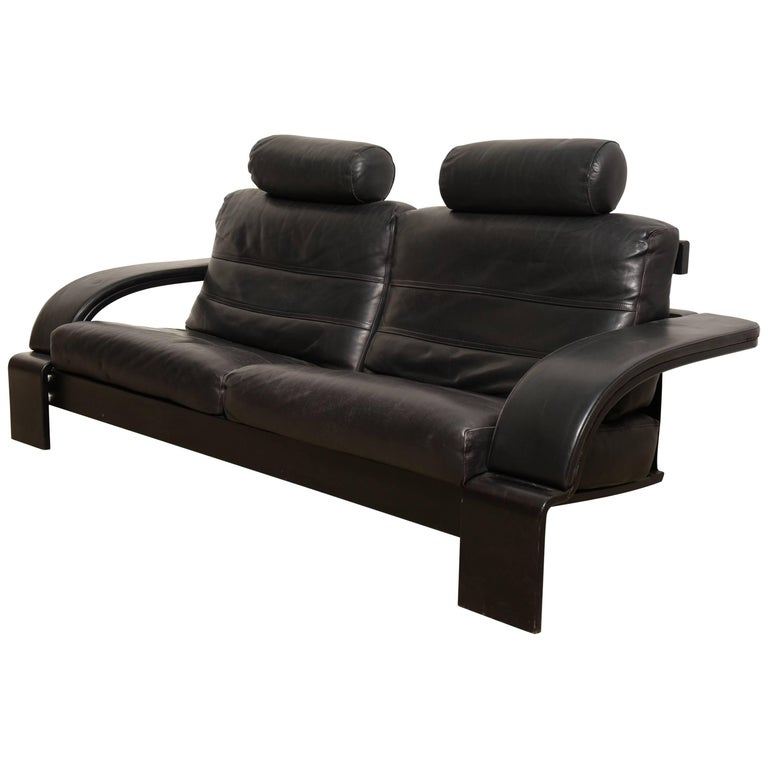 Beautiful Midcentury Modern Black Leather Large Lounge Sofa, Italy 1980s