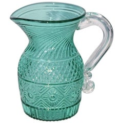 Small Vintage Handblown and Pressed Blue Green Glass Pitcher