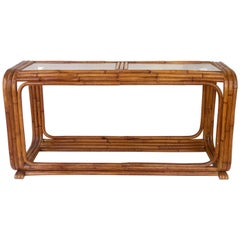Art Deco Paul Frankl Style Rattan Reed Glass Top Long Console Table