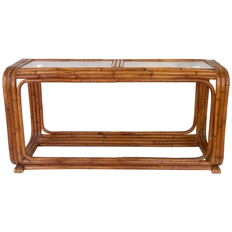 30'S Art Deco Paul Frankl Style Rattan Reed Glass Top Long Console Table