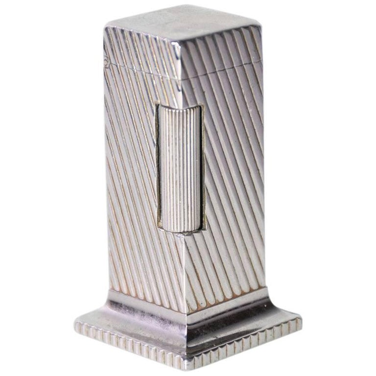 Dunhill Rollalite Silver Plated Table Lighter For Sale