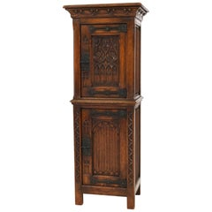 Solid Oak Dutch Gothic Revival Cabinet or Dry Bar, 1940s