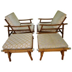 Stylish Pair of John Wisner for Ficks Reed Bamboo Lounge Chairs and Ottomans
