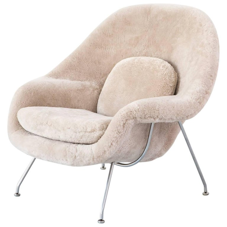 Mid century modern eero saarinen for knoll womb chair in shearling at 1stdibs - Vintage womb chair for sale ...
