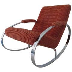 Gorgeous Milo Baughman Chrome Flatbar Oval Rocking Chair Mid-Century Modern