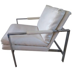 Lovely Milo Baughman Chrome Flatbar Lounge Chair, Mid-Century Modern