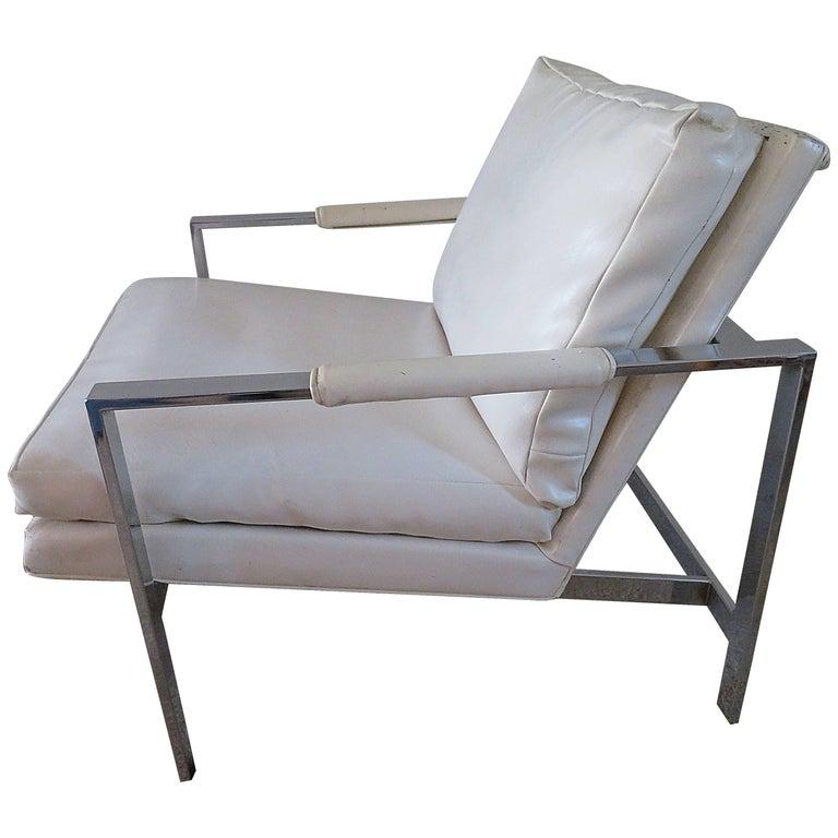 Lovely Milo Baughman Chrome Flatbar Lounge Chair, Mid-Century Modern