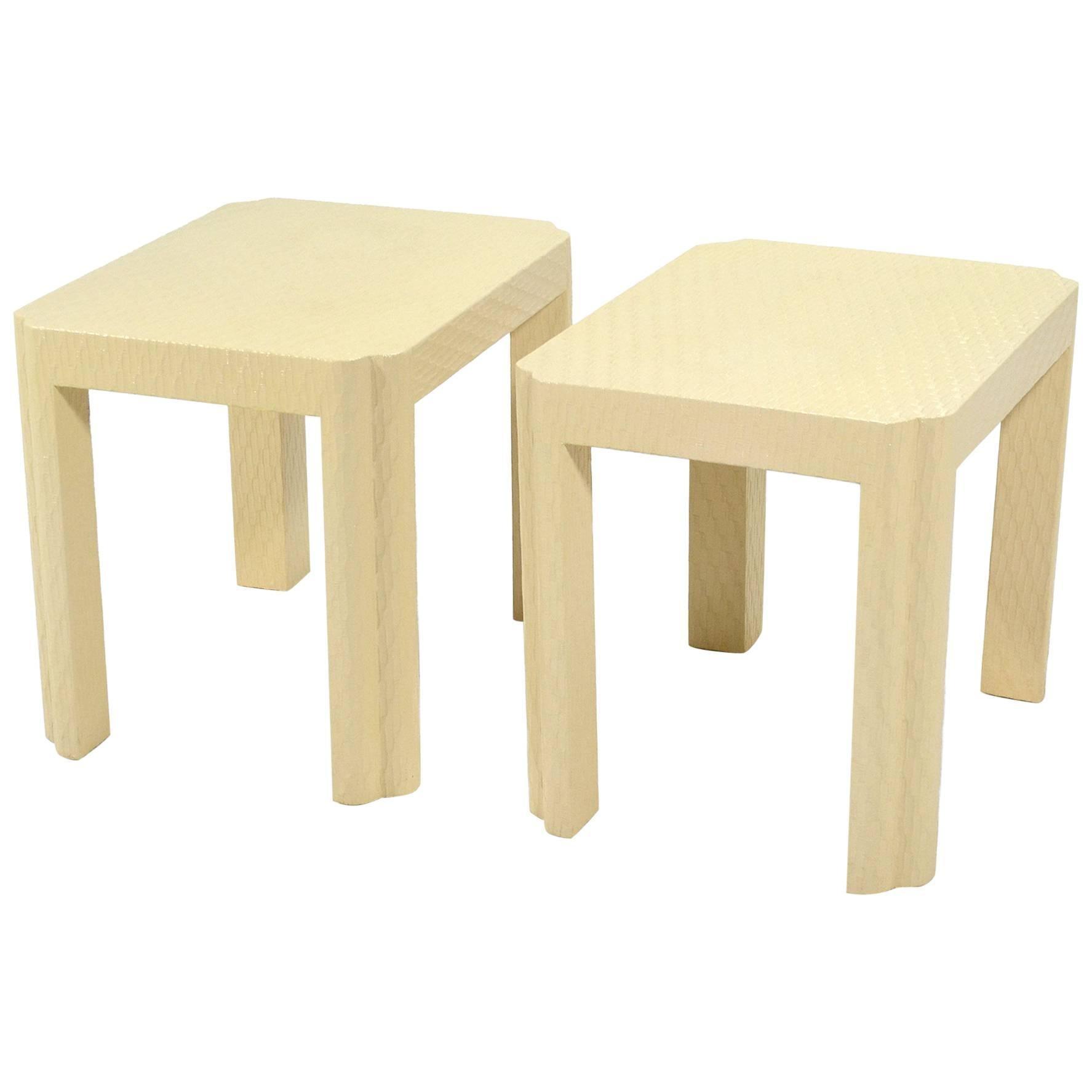 Karl Springer Style End Tables
