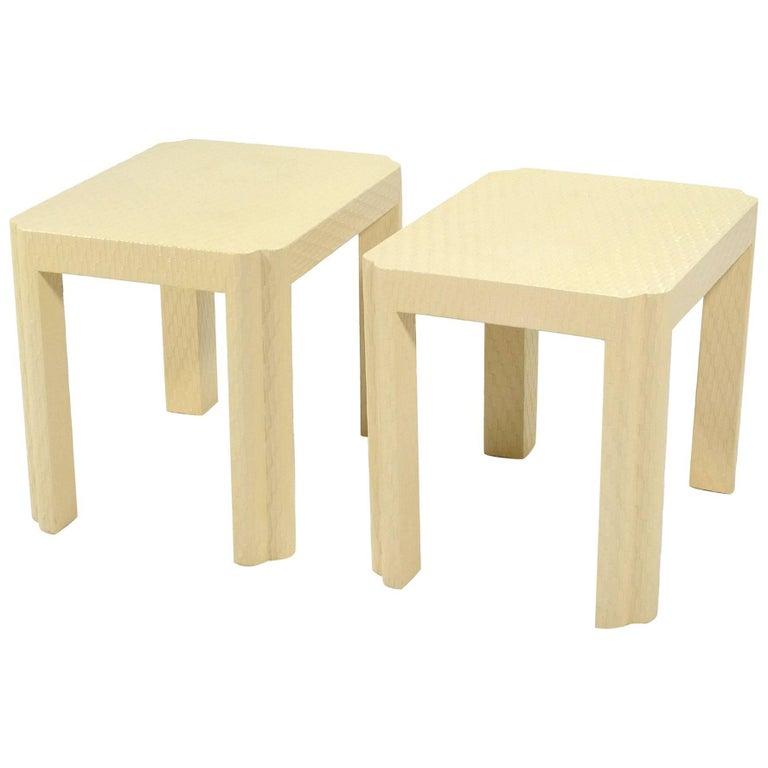 Karl Springer Style End Tables For Sale