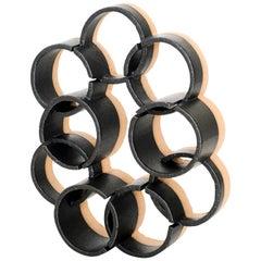 Black Glazed Ceramic Circle Sculpture by Ben Medansky