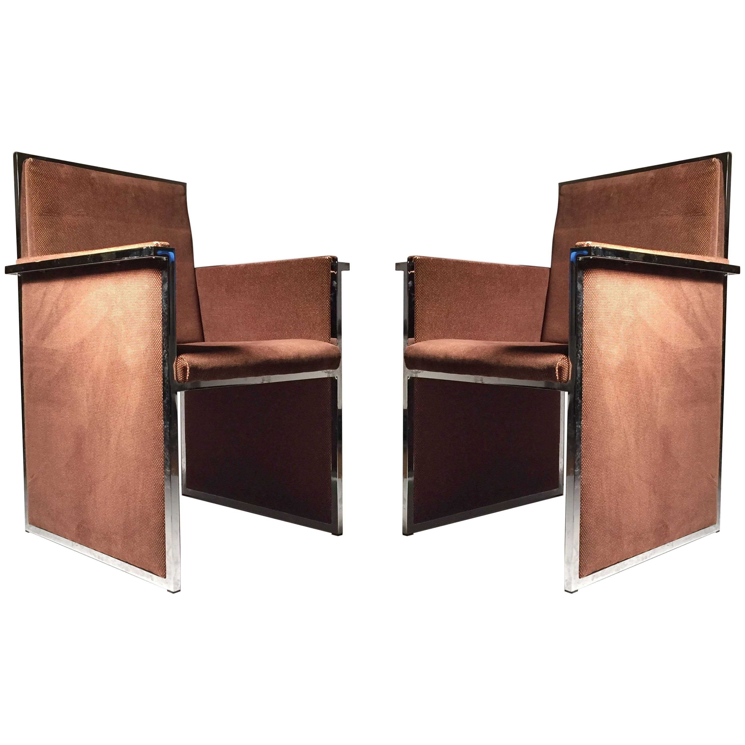 Pair of Vintage Italian Chrome Upholstered Club Arm Chairs