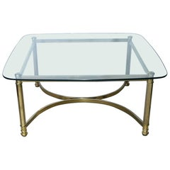 Mid-Century Modern Brass and Glass Top Coffee Table