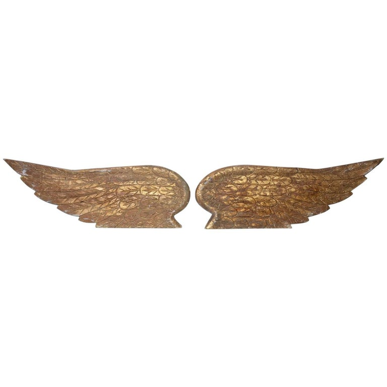 Pair of Ornamental Carved Wood Gilded Angel Wings For Sale