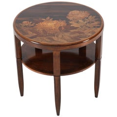 Walnut and Macassar French Art Nouveau Marquetry Table by Emile Gallé, 1900s