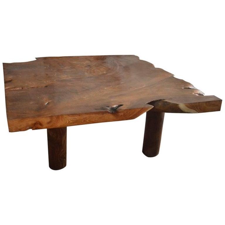Teak Wood Coffee Table: Andrianna Shamaris Single Slab Teak Wood Coffee Table At
