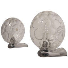 Pair of Midcentury German Crystal Glass Balls and Chromed Metal Wall Sconces