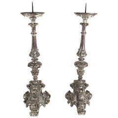 Pair of Hand-Carved 17th Century Italian Baroque Silver Giltwood Candlesticks