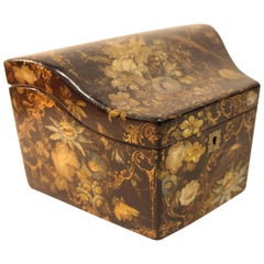 Victorian Papier-Mache Stationary Box With Painted, Gilded Birds and Flowers