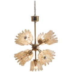 Midcentury Italian Sputnik Shaped Murano Glass and Bicolored Brass Chandelier