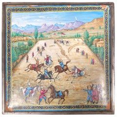 Large Mid-19th Century Iranian Silver Persian Miniature Enamel Painted Polo Box