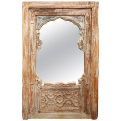 Colonial Indian Hardwood Painted Balcony Mirror