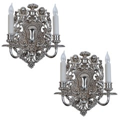 Pair of E. F. Caldwell Silvered Bronze Old English Style Twin Arm Sconces