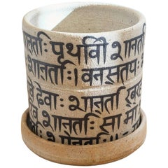 Sanskrit Peace Prayer Stoneware Planter
