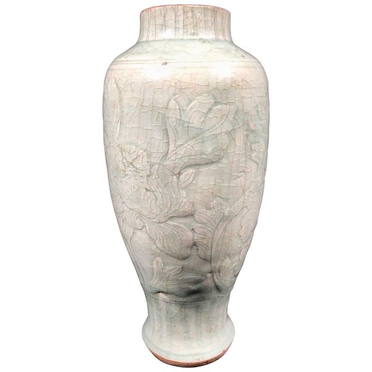 16th Century Ming Dynasty Chinese Longquan Celadon Underglaze Peony Vase